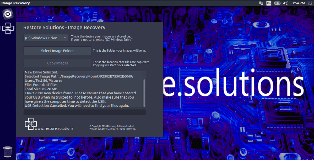 image photo recovery select backup  usb error