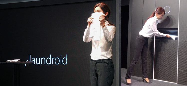 two separate views of a woman demonstrating laundroid at ceatec