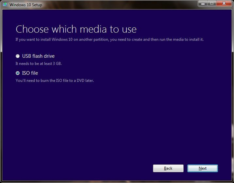 Choose which Windows 10 media to use