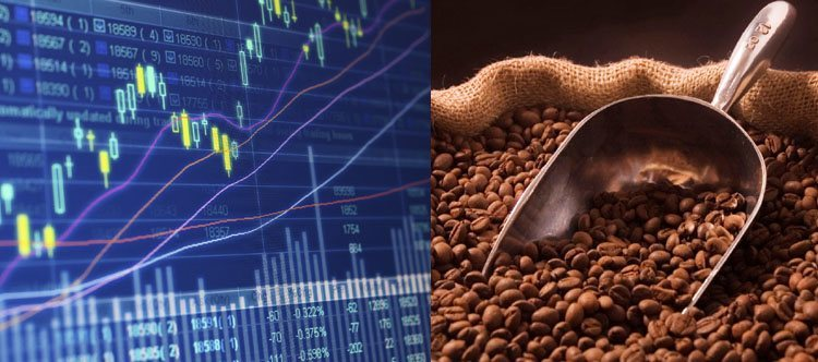Coffee beans next to a graph showing stock market trades