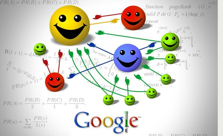 Google page rank algorithm represented as a cartoon