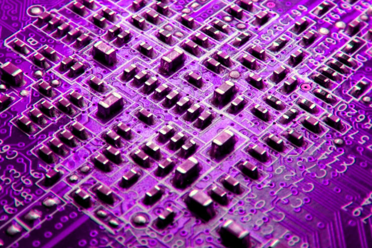 Purple Lenovo electronics board with resistors