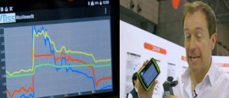 holding a mobile phone that can smell next to a graph at ceatec