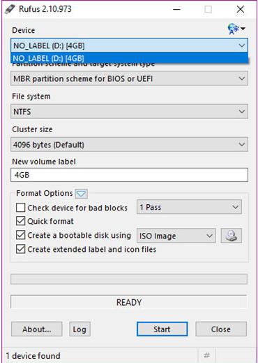 rufus select usb device screen shot