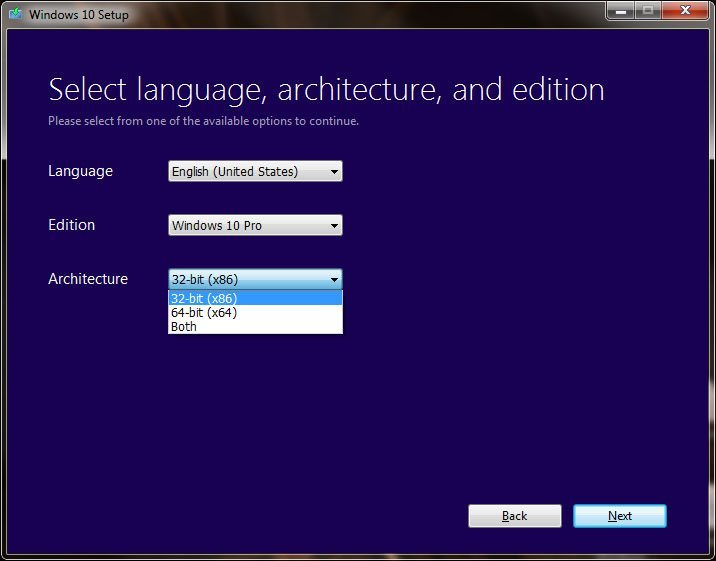 Select a windows 10 architecture