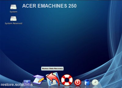Acer eMachines 250 boot cd screen shot