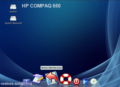 HP Compaq 550 boot cd screen shot