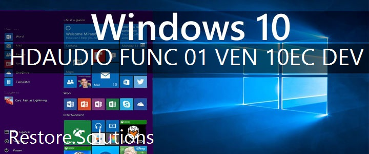 HDAUDIO\FUNC_01&VEN_10EC&DEV_0668 Windows 10 Drivers