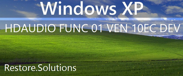 HDAUDIO\FUNC_01&VEN_10EC&DEV_0668 Windows XP Drivers