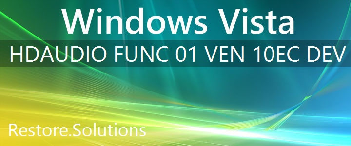 HDAUDIO\FUNC_01&VEN_10EC&DEV_0680 Windows Vista Drivers