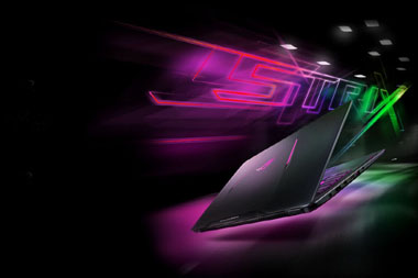 black and purple Asus backdrop