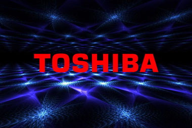 purple 3d backdrop with red toshiba logo