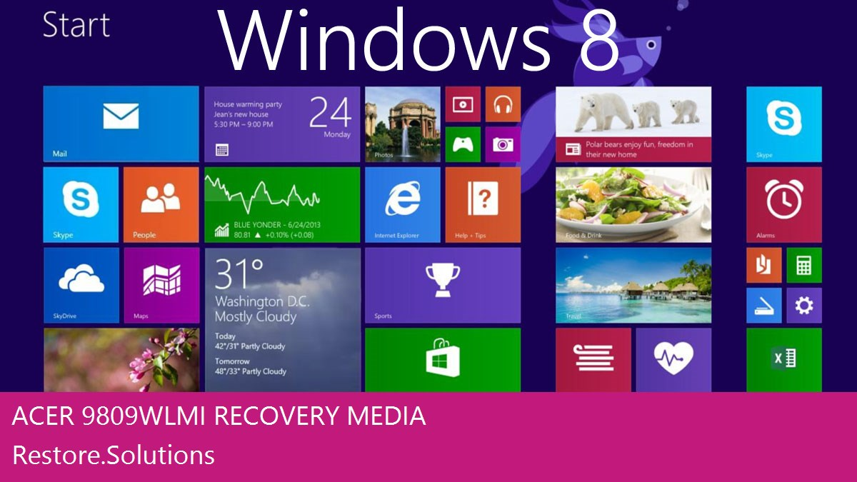 Acer 9809 WLMi Windows® 8 screen shot