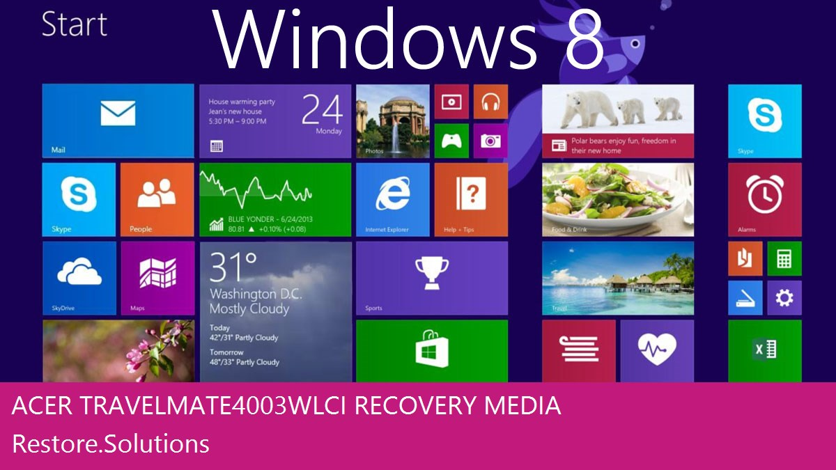 Acer Travelmate 4003 WLCi Windows® 8 screen shot
