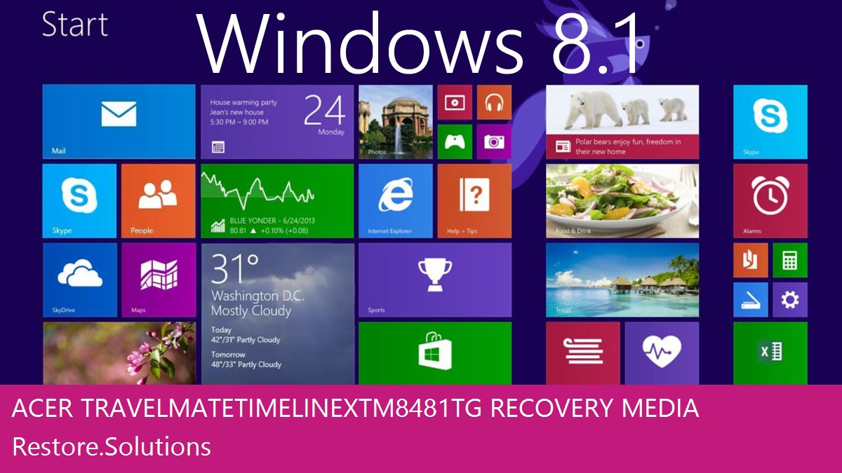 Acer TravelMate TimeLineX TM8481TG Windows® 8.1 screen shot