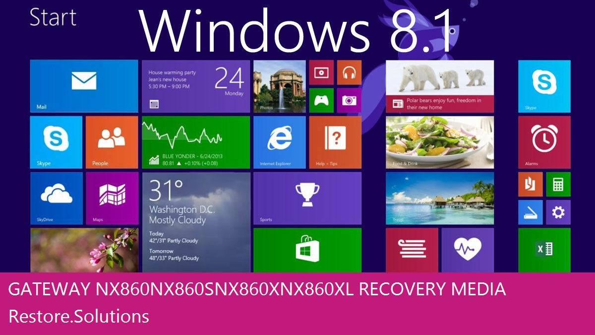 Gateway NX860 NX860S NX860X NX860XL Windows® 8.1 screen shot