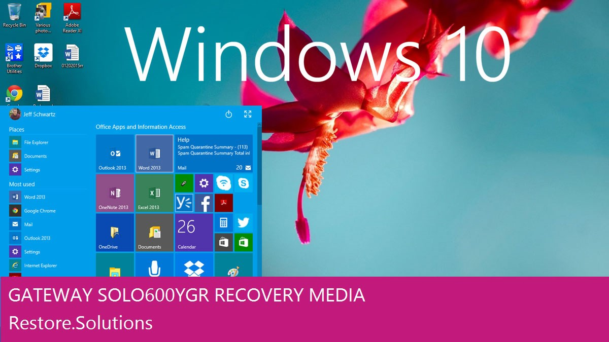 Gateway Solo 600YGR Windows® 10 screen shot