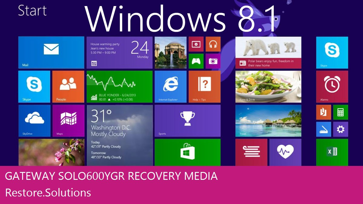 Gateway Solo 600YGR Windows® 8.1 screen shot