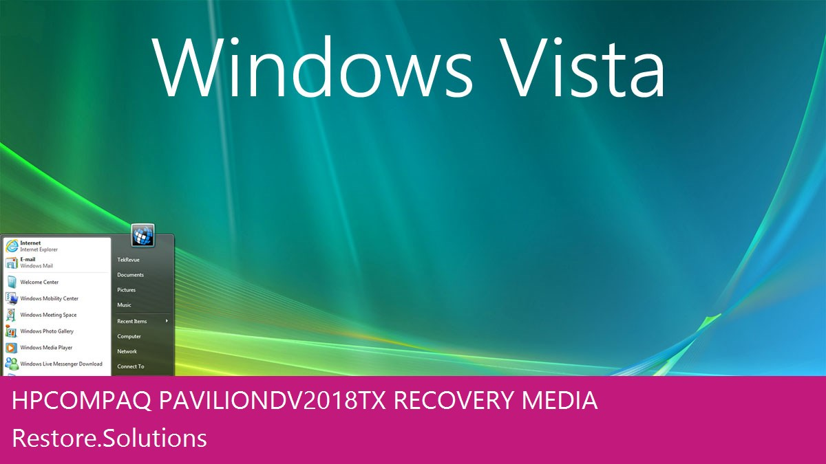 HP Compaq Pavilion dv2018tx Windows® Vista screen shot