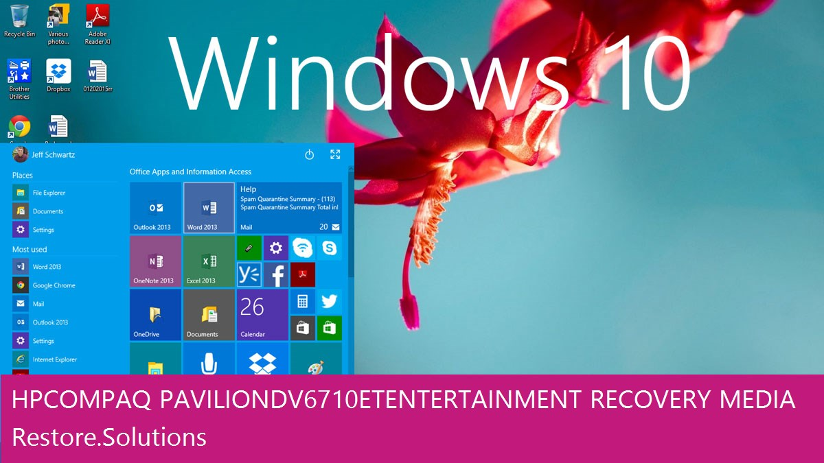 HP Compaq Pavilion dv6710et Entertainment Windows® 10 screen shot