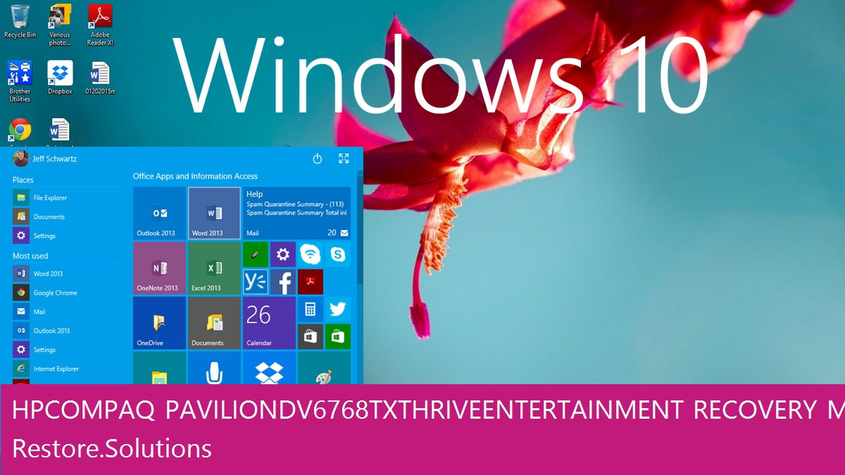 HP Compaq Pavilion dv6768tx Thrive Entertainment Windows® 10 screen shot