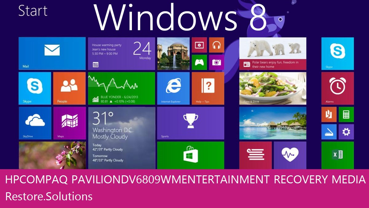 HP Compaq Pavilion dv6809wm Entertainment Windows® 8 screen shot
