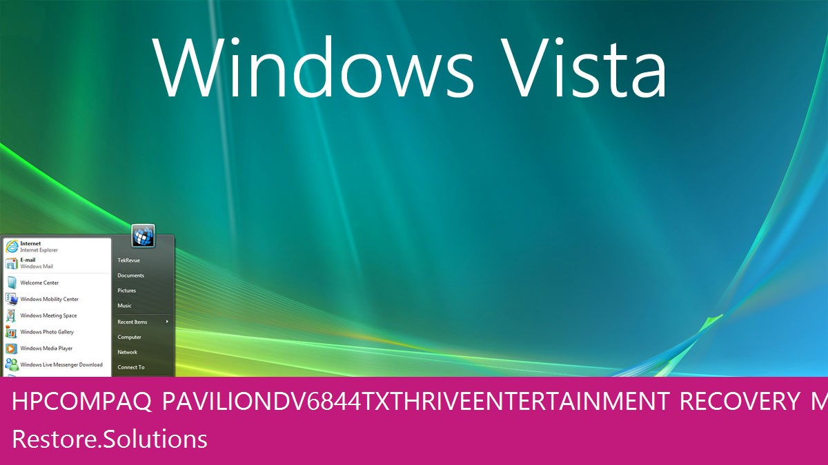 HP Compaq Pavilion dv6844tx Thrive Entertainment Windows® Vista screen shot