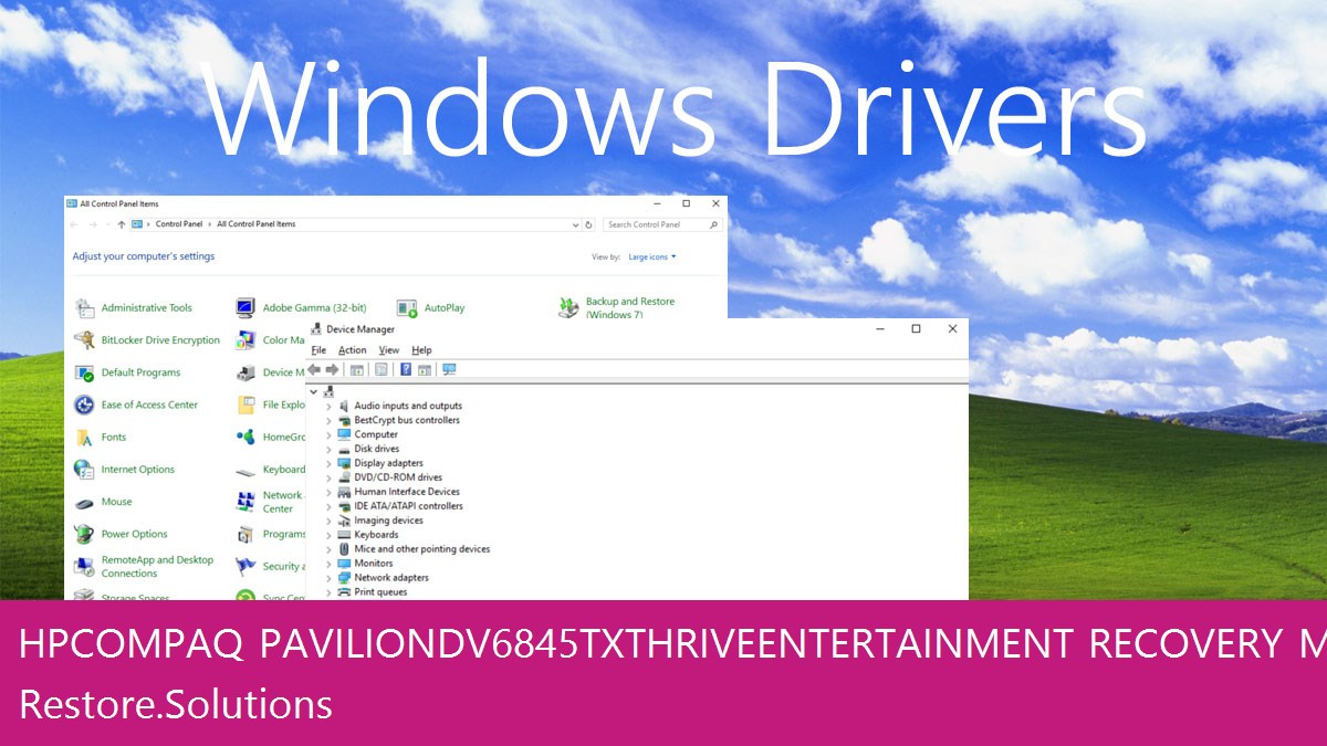 HP Compaq Pavilion dv6845tx Thrive Entertainment Windows® control panel with device manager open