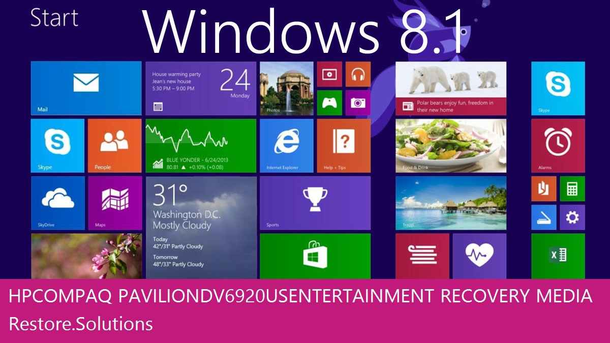 HP Compaq Pavilion dv6920us Entertainment Windows® 8.1 screen shot