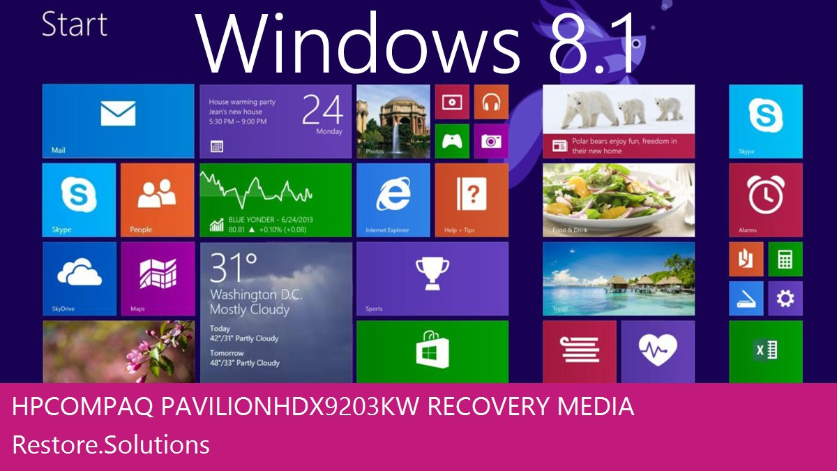 Hp Compaq Pavilion HDX9203KW Windows® 8.1 screen shot