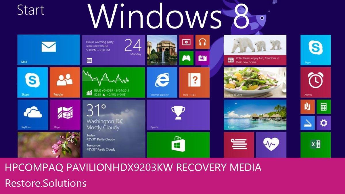 Hp Compaq Pavilion HDX9203KW Windows® 8 screen shot