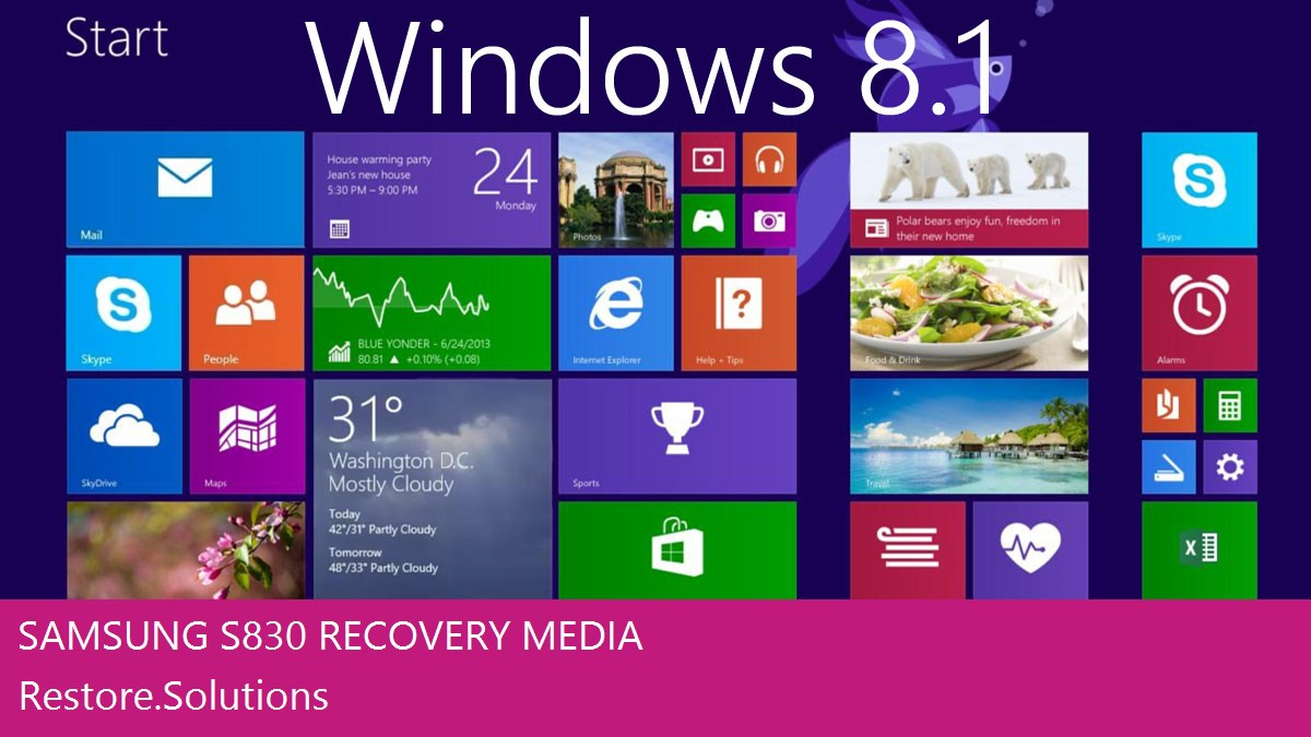 Samsung S830 Windows® 8.1 screen shot