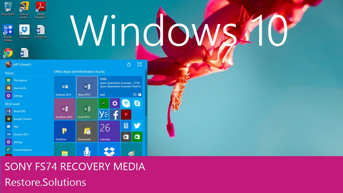 Sony FS74 Windows® 10 screen shot