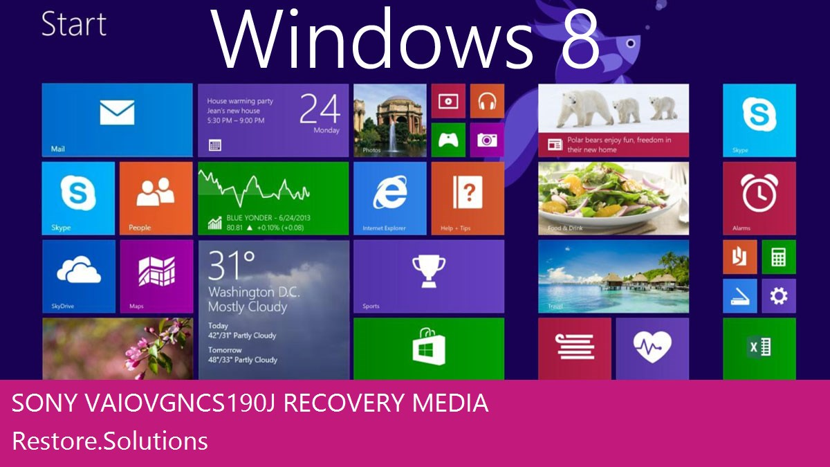 Sony Vaio VGN-CS190J Windows® 8 screen shot