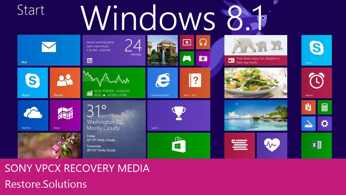 Sony VPCX Windows® 8.1 screen shot