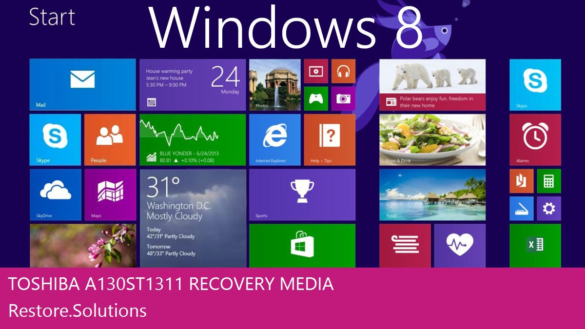 Toshiba A130-ST1311 Windows® 8 screen shot
